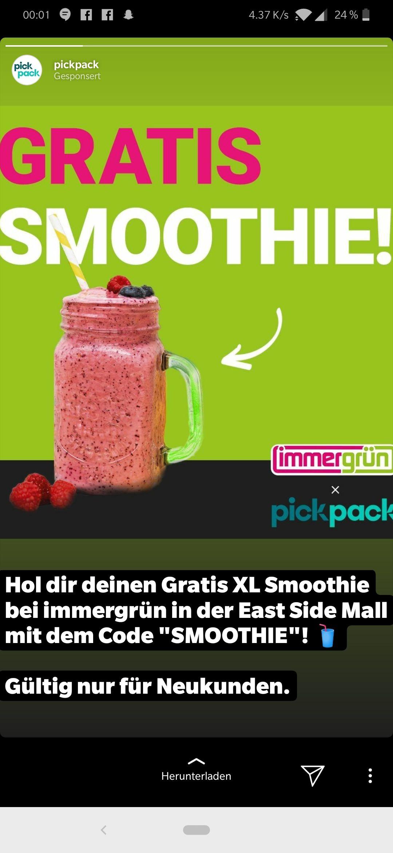 [Lokal] Berlin - XL Smoothie kostenlos bei immergrün in der East Side Mall über pickpack