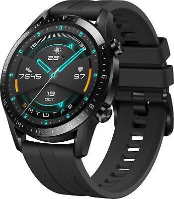 HUAWEI Watch GT 2 46mm Sport Smartwatch, Fluorkautschuk, 140-210 mm, Schwarz [Ebay Saturn]