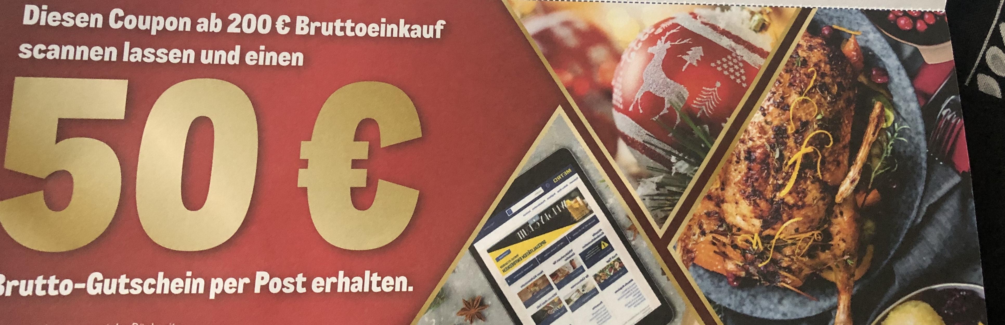 (Personalisiert) Metro 50 € Gutschein ab 200 € Einkauf