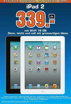 iPad 2 16GB Wifi für 281€ (339CHF) bei Saturn und Media Markt Schweiz