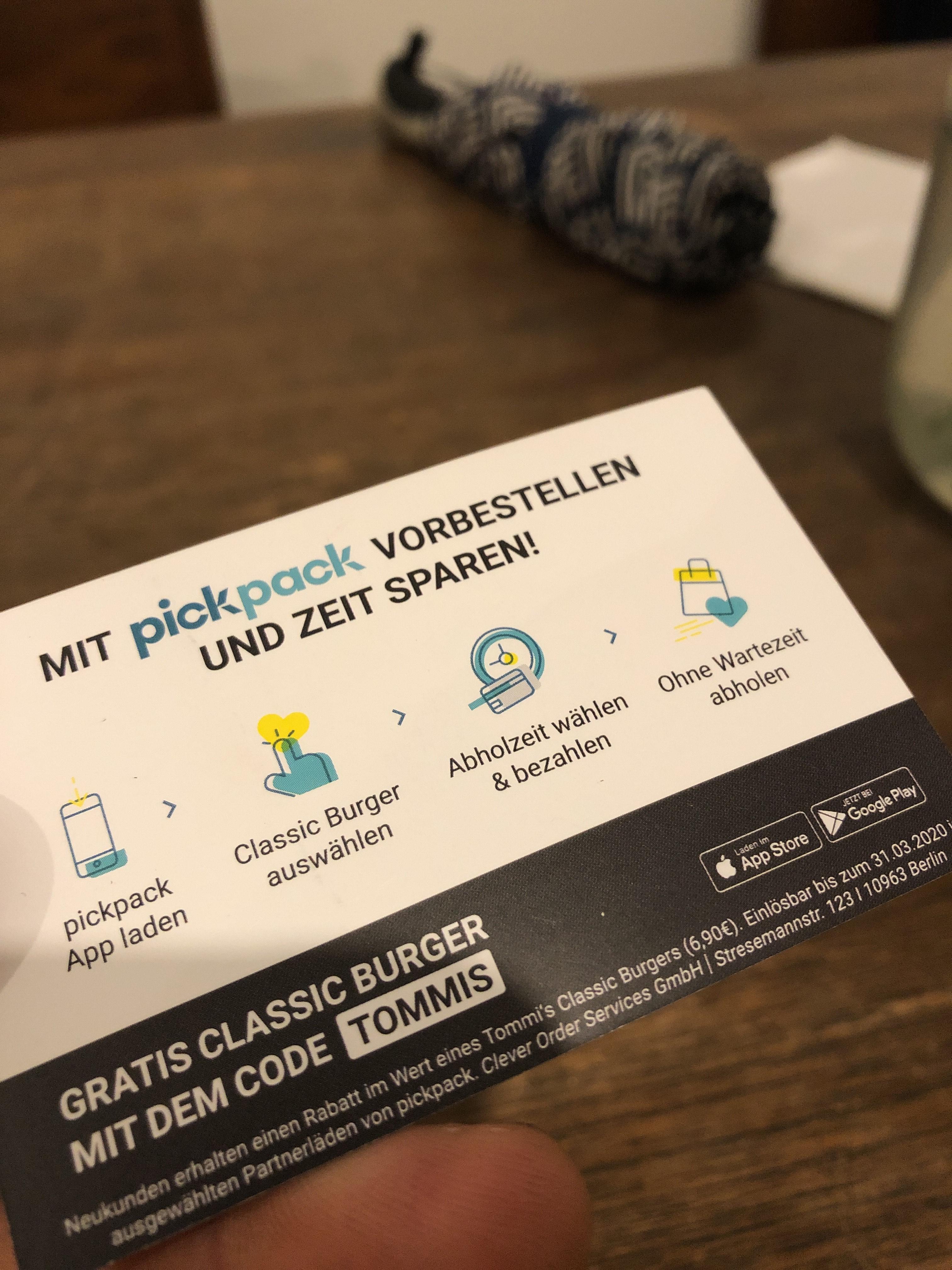 [Lokal] Berlin - Tommis Klassik Burger kostenlos über pickpack