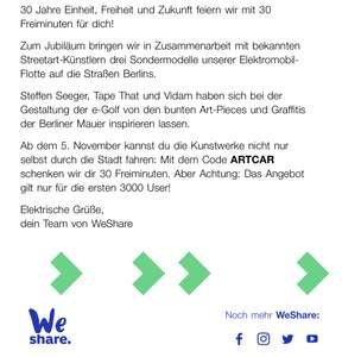 WeShare Lokal Berlin 5€ - auch Bestandskunden