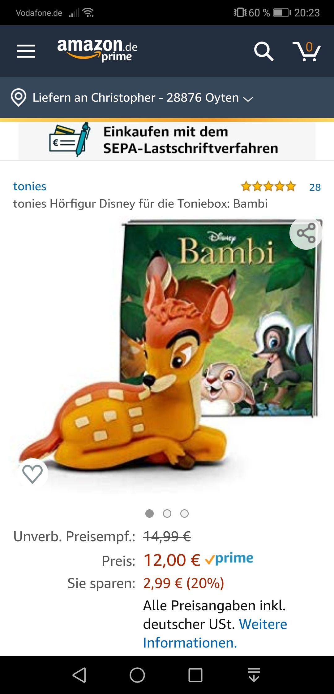 [Amazon & Media Markt ] tonies Hörfigur Disney für die Toniebox: Bambi