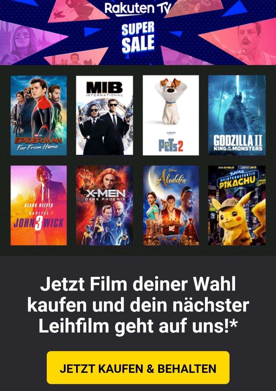 [Rakuten TV] SUPER SALE - 1x Film (aus 21 + x) kaufen (ab 5,99€) > 1x Leihfilm GRATIS (500 Rakuten Super Points)!