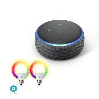 Amazon Echo Dot 3. Generation + 2er Pack Nedis Smartlife LED Vollfarbe und Warmweiß   E27
