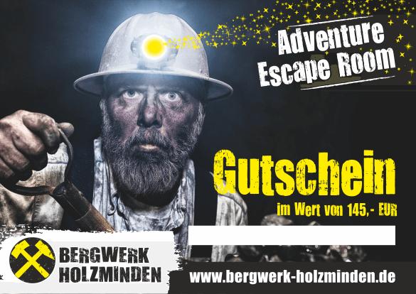 20% Rabatt beim Adventure Escape Game `Bergwerk` in Holzminden