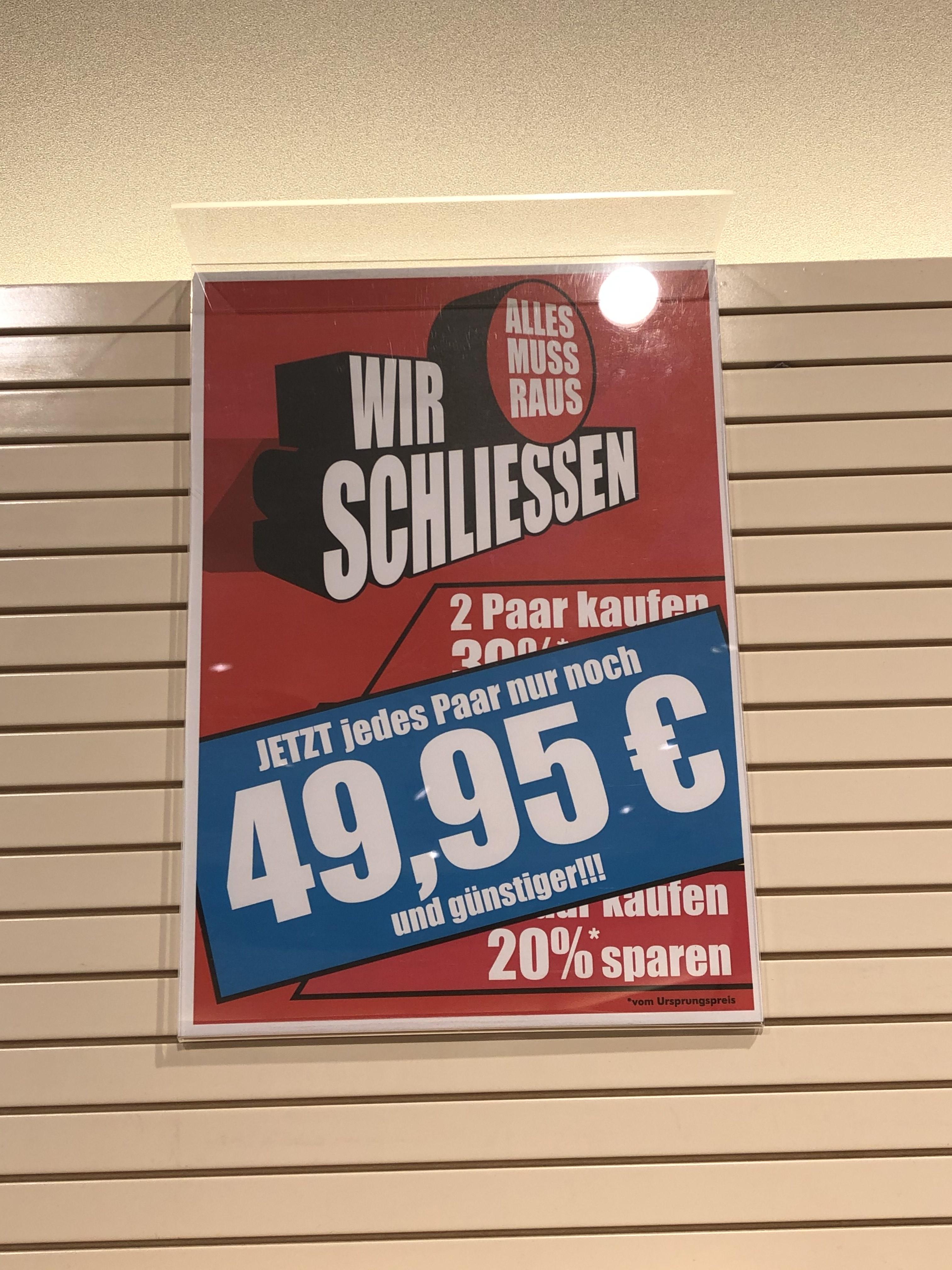 [Lokal] Ausverkauf bei Leiser - jedes Paar 49,95€