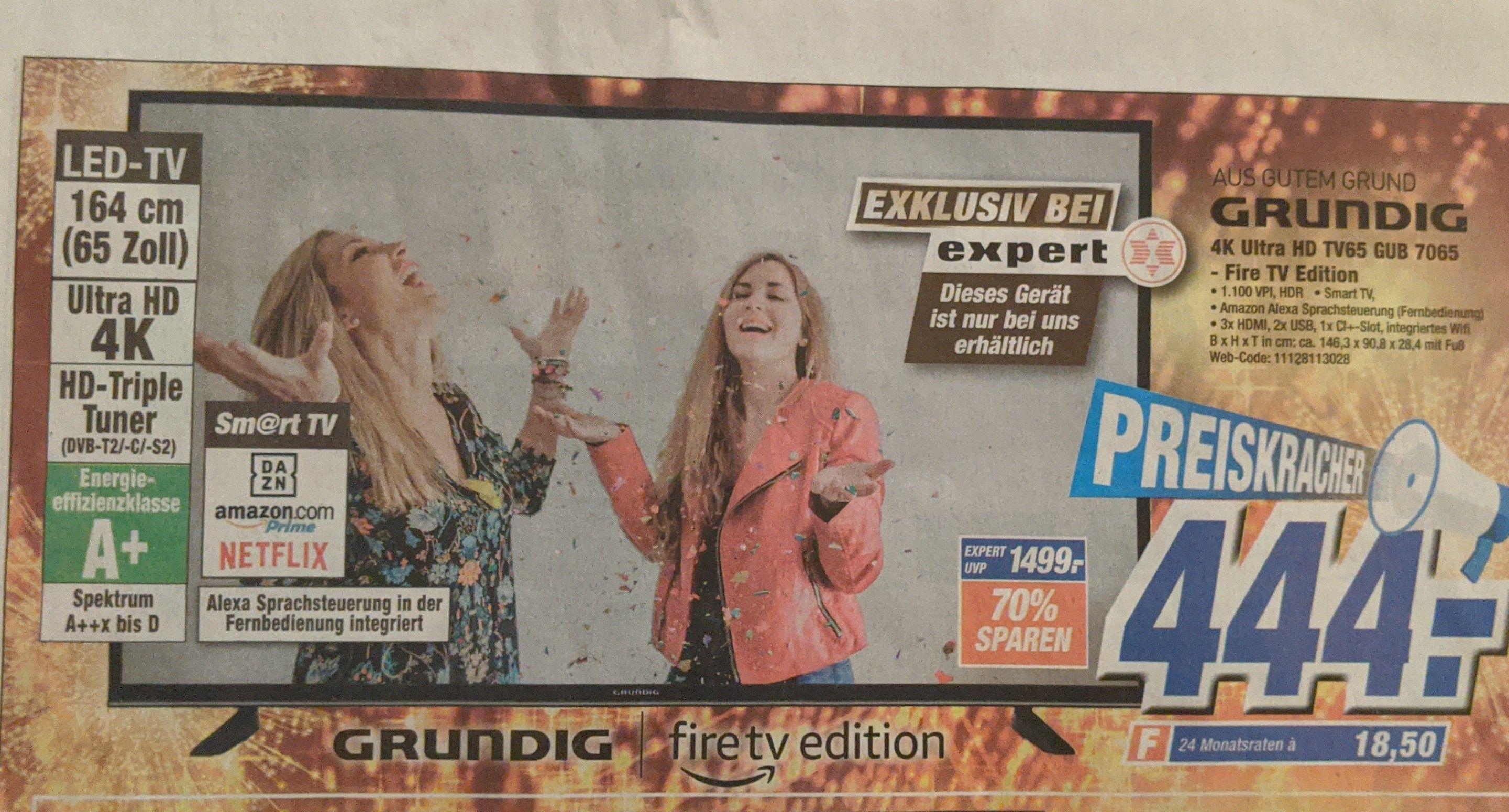 (Lokal - Expert Westküste) Grundig GUB 7065 4K UHD 65 Zoll Fire TV Edition