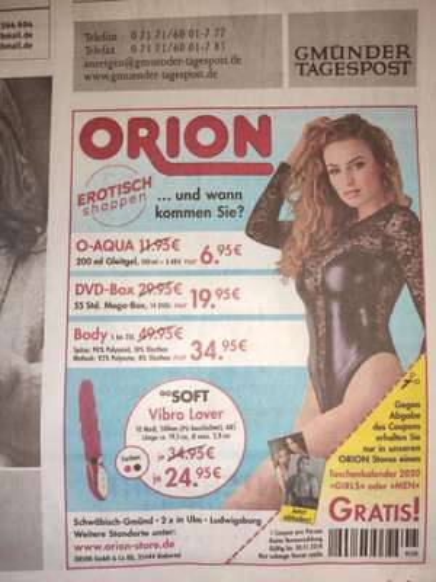 Gratis Erotikkalender bei Orion