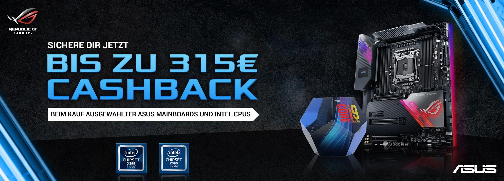 ASUS Cashback Bundle aus Mainboard und Intel CPU bis 315€ Cashback Beispiel beigefügt