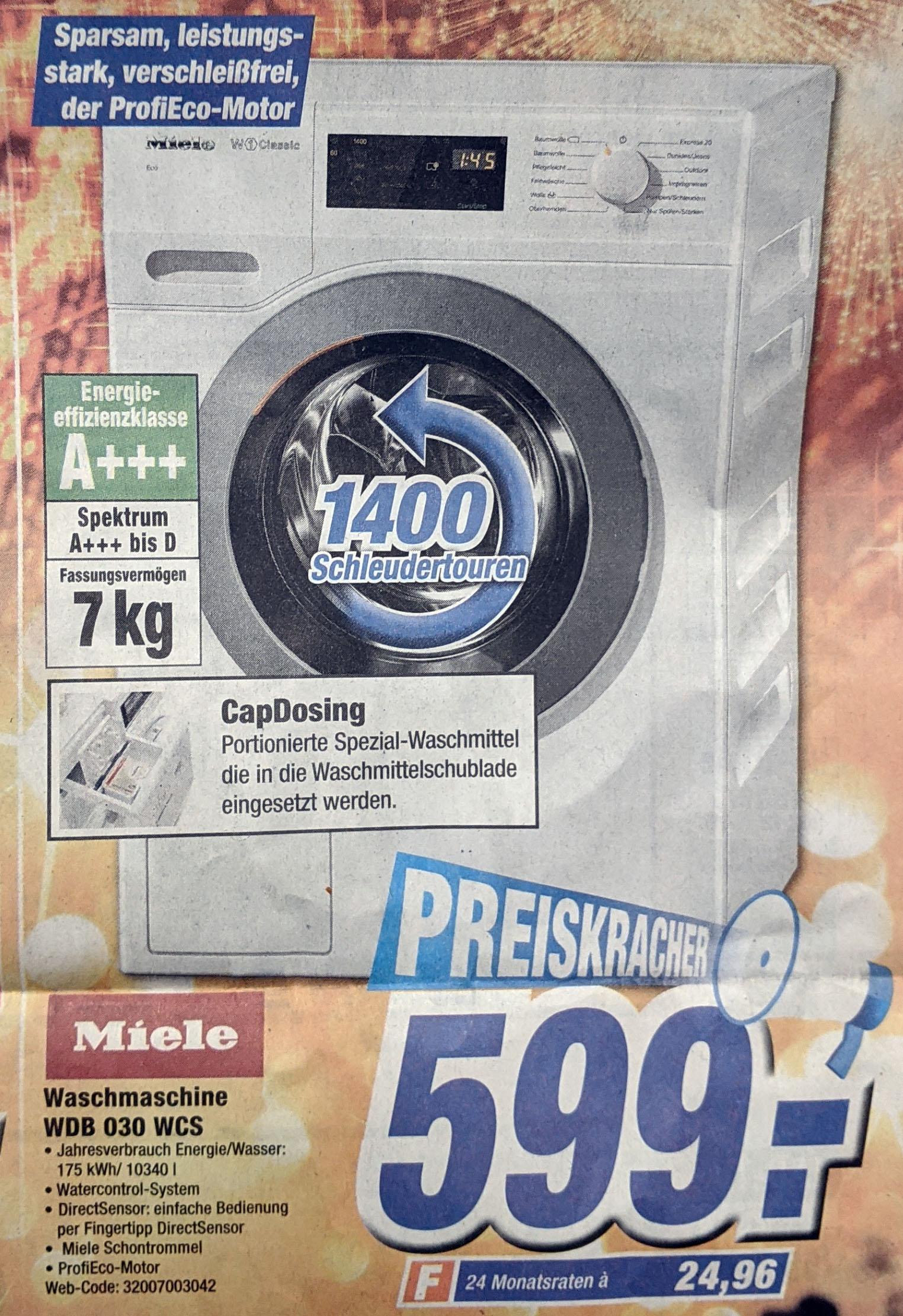 (Lokal - Expert Westküste) Miele Waschmaschine WDB 030 WCS 7kg 1400 U/min A+++