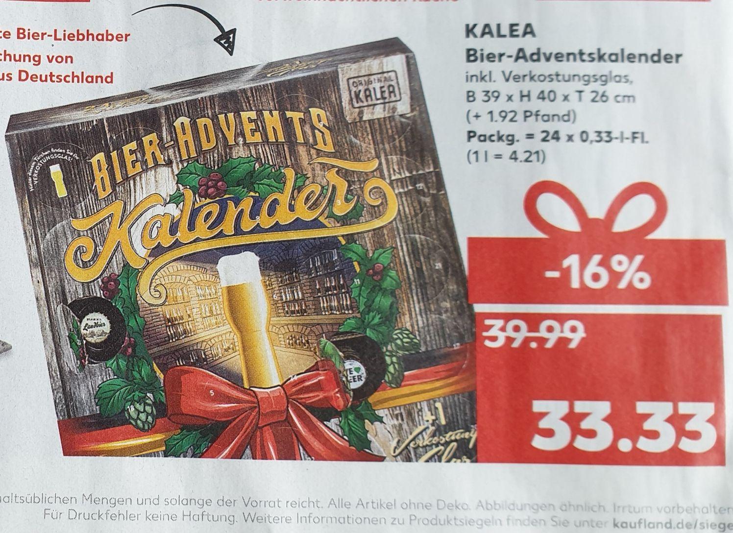 Kaufland-Angebot: Kalea BIER-Adventskalender 2019, 24 Deutsche Bier-Spezialitäten und 1 Verkostungsglas zzgl. 1,92 € Pfand
