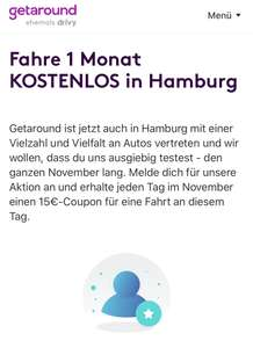 [lokal Hamburg] (fast) Kostenloses Getaround Carsharing im November