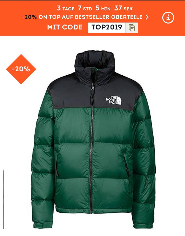 -20% auf Bestseller Oberteile bei Sportscheck (z.B. North Face Retro Nupste in grün für 163,91€ inkl. Versand)