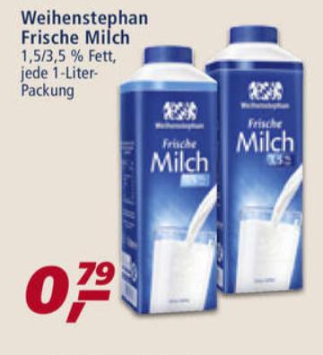 [real + couponplatz.de] Weihenstephan Frische Milch mit Coupon günstiger (0,54€/ Liter, Dealpreis bezieht sich auf 2 Liter)