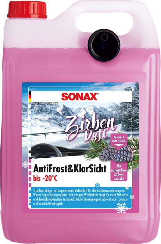"""SONAX AntiFrost & Klarsicht Scheibenfrostschutz """"Zirbe"""" 5L beseitigt typische Winterverschmutzungen + Sonax Scheibenenteiser (500ml) GRATIS"""