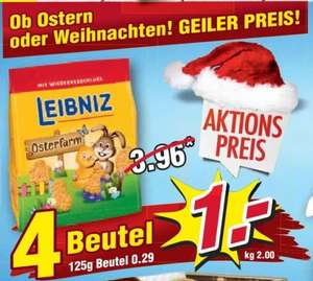 [Regional WIGLO Wunderland ab 11.11] 4 x 125g Leibniz Osterfarm Kekse für 1,-€ (entspricht 0,25€ je Tüte)