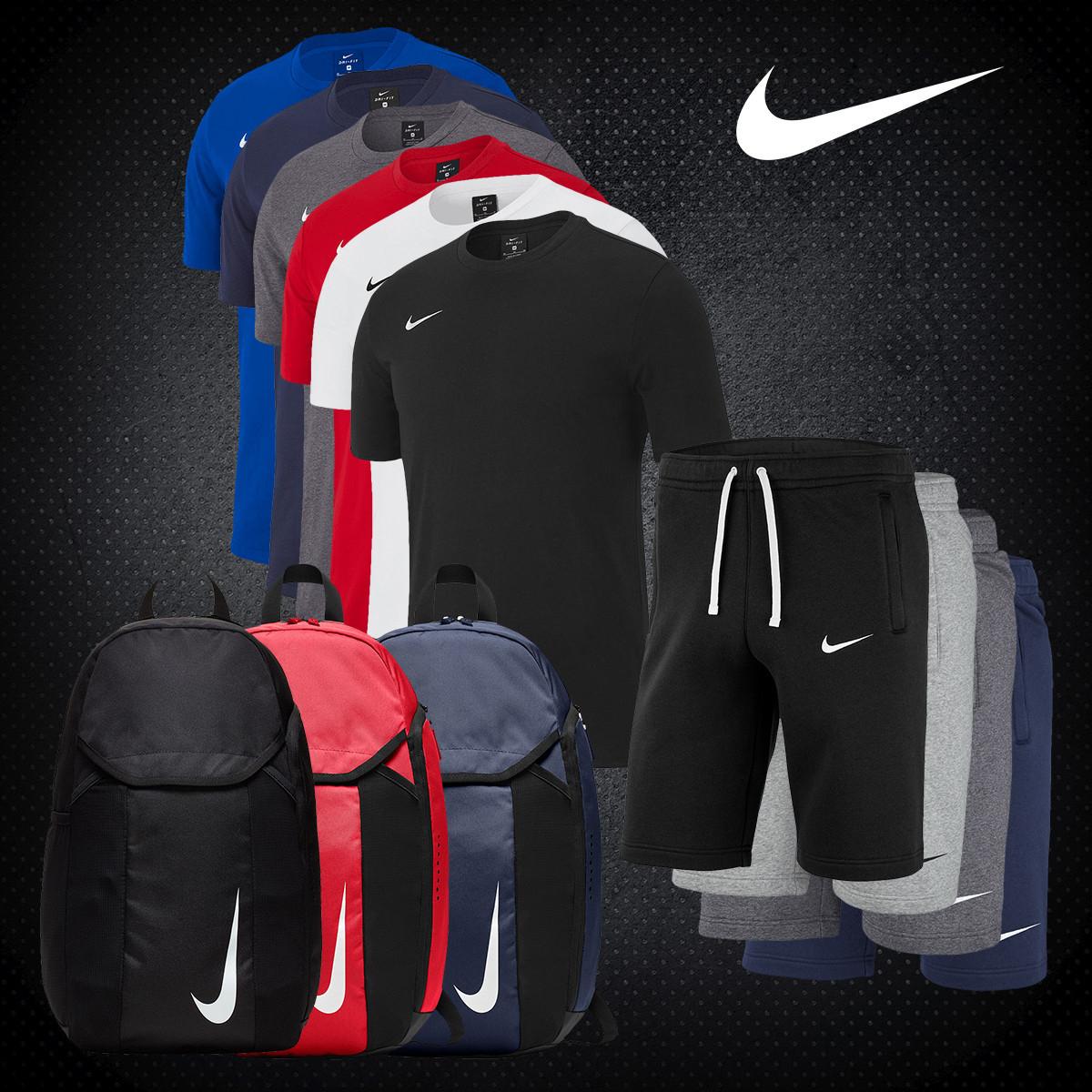 Nike Freizeit Outfit 3-teilig (Team Club T-Shirt, Shorts und Rucksack)