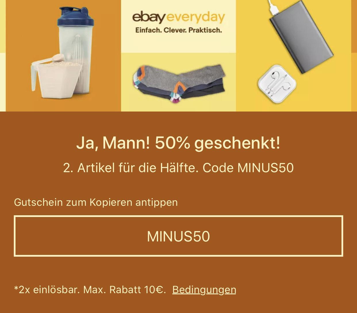 50% Rabatt auf zweiten Artikel bei Ebay!