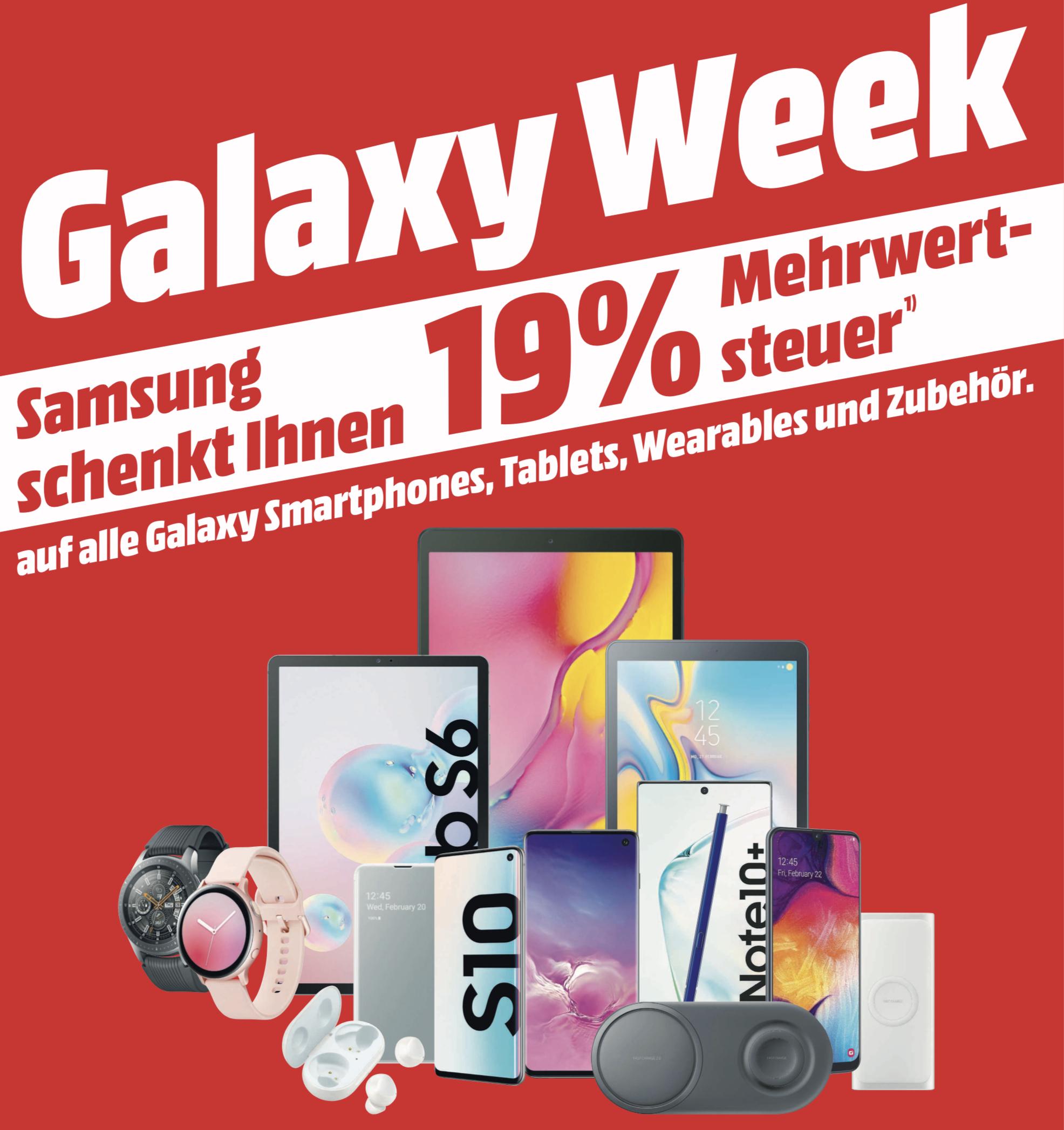 19% Mehrwertsteuer geschenkt auf Samsung Galaxy Produkte - entspricht 15,96% Rabatt - [Mediamarkt/Saturn]
