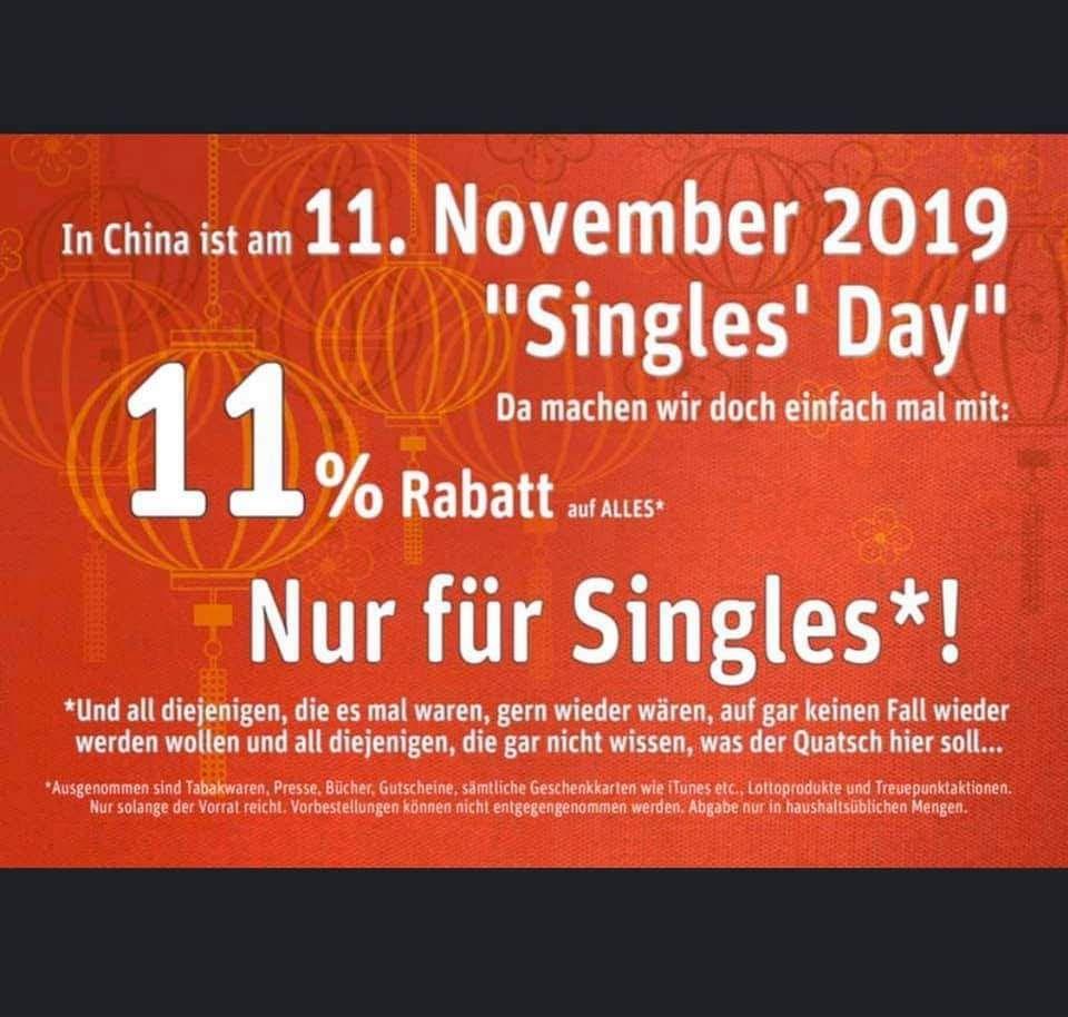 11% auf Alles (auch Reduziertes) im REWE Scholand am Singles Day [Lokal Mülheim a.d. Ruhr]