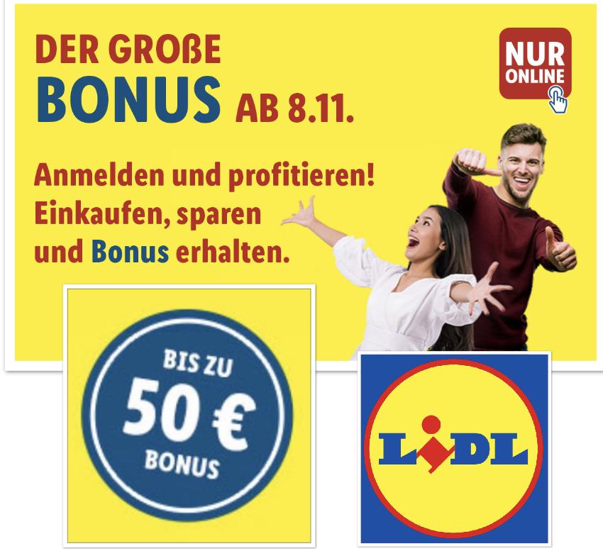 Bis zu 50€ Bonus-Gutschein im Lidl-Shop ab 08.11. - 11.11.