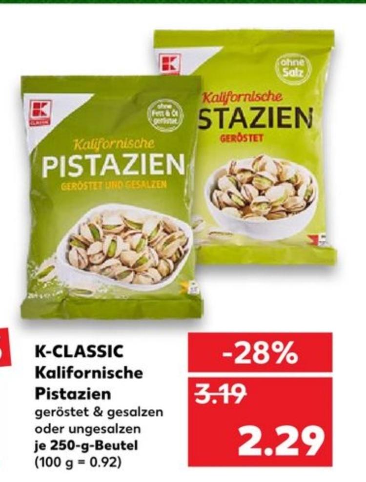 Kalifornische Pistazien versch. Sorten (geröstet, gesalzen & ungesalzen) je 250g für 2,29€ / Pfanner Eistee 0,88€ [Kaufland]
