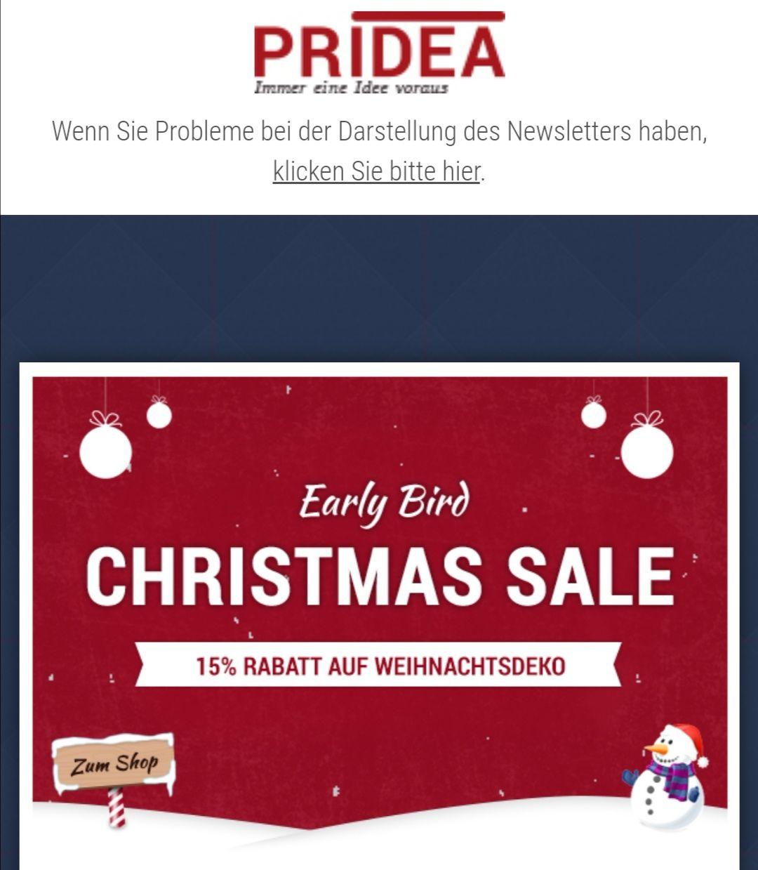Pridea - 15% Rabatt auf Weihnachtsdeko-Sortiment