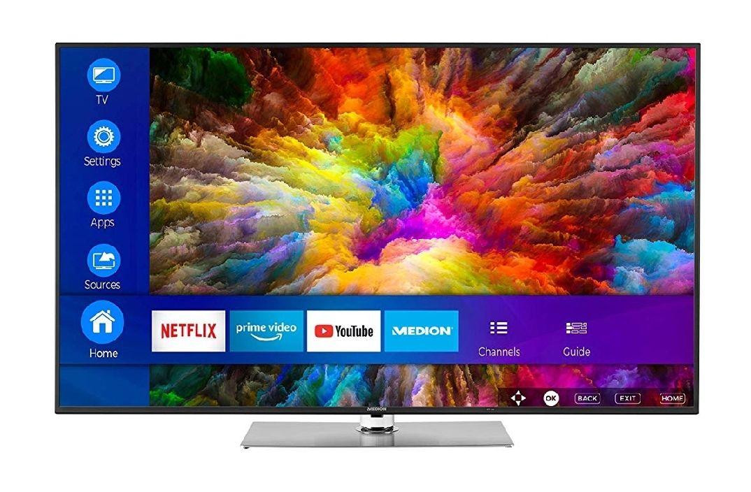 MEDION X16565 (65 Zoll) UHD (Smart-TV, 4K Ultra HD, Dolby Vision HDR, WCG, WLAN, HD Triple Tuner, DTS Sound, PVR, Bluetooth)