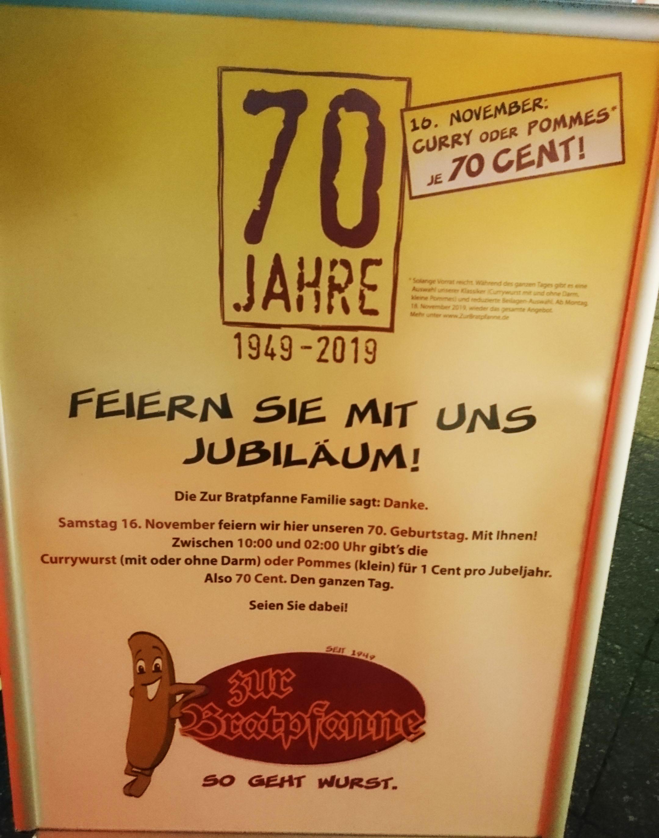 [LOKAL] Am 16.11.2019 Currywurst bzw. kl. Pommes für 0,70€ in Berlin Steglitz