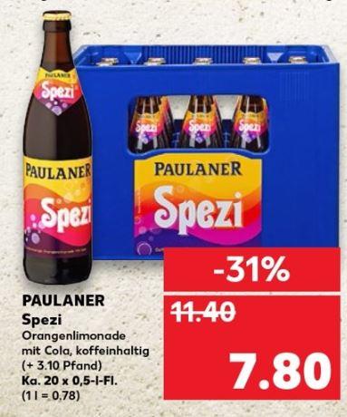 [Kaufland - Lokal (Bayern)] Paulaner Spezi der Kasten (20 x 0,5l) für nur 7,80 €. Literpreis nur 0,78 €