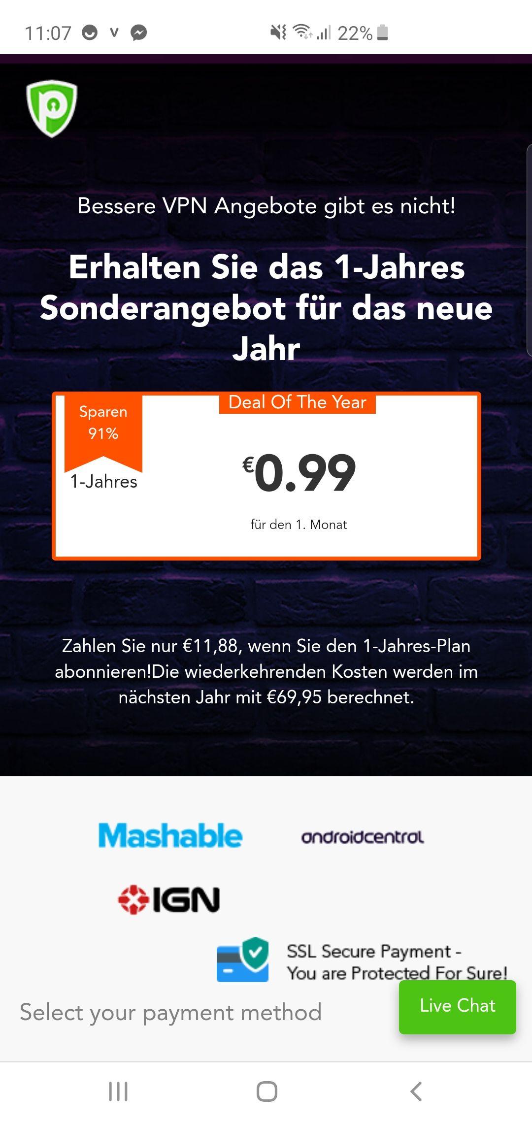 PureVPN 1-Jahres-Plan. 11.88€