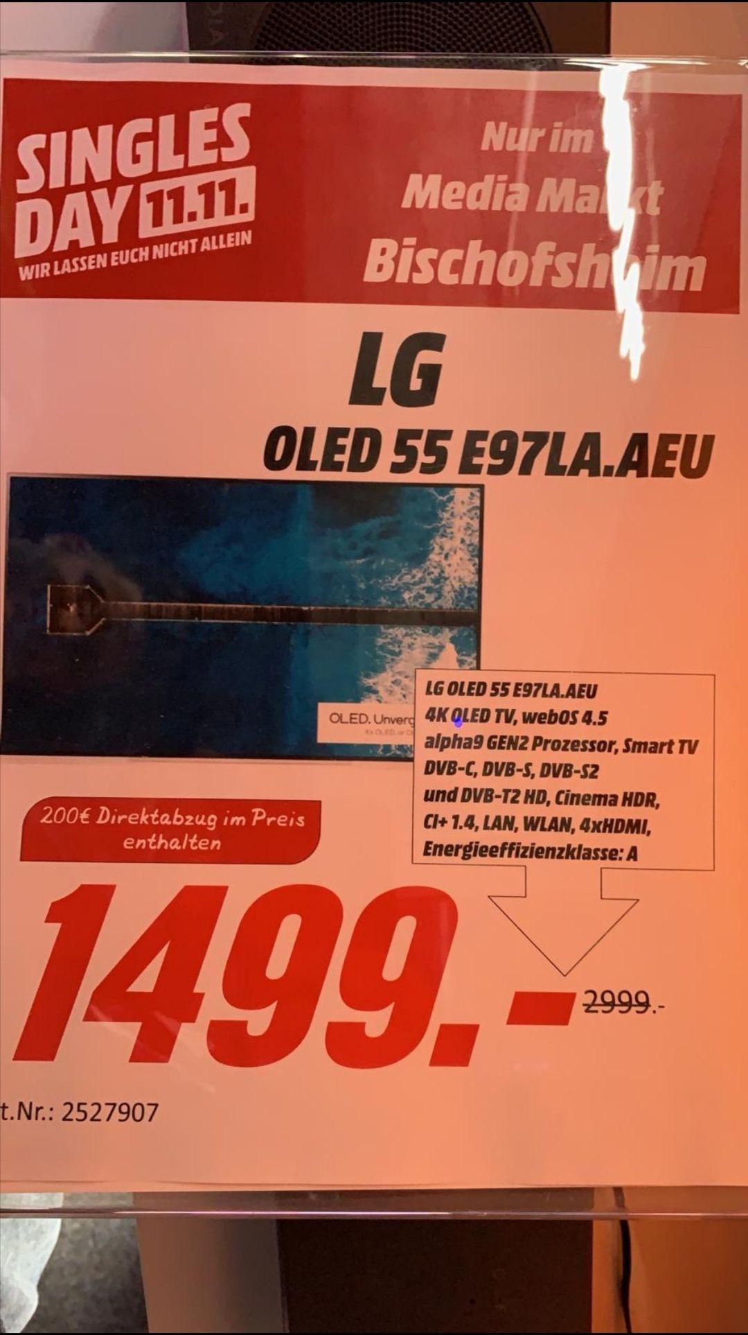 [lokal Mediamarkt Bischofsheim] LG OLED55E97LA OLED TV für 1499€ [65E97LA für 2400€] (55 Zoll, UHD 4K, SMART TV, webOS 4.5 (AI ThinQ))