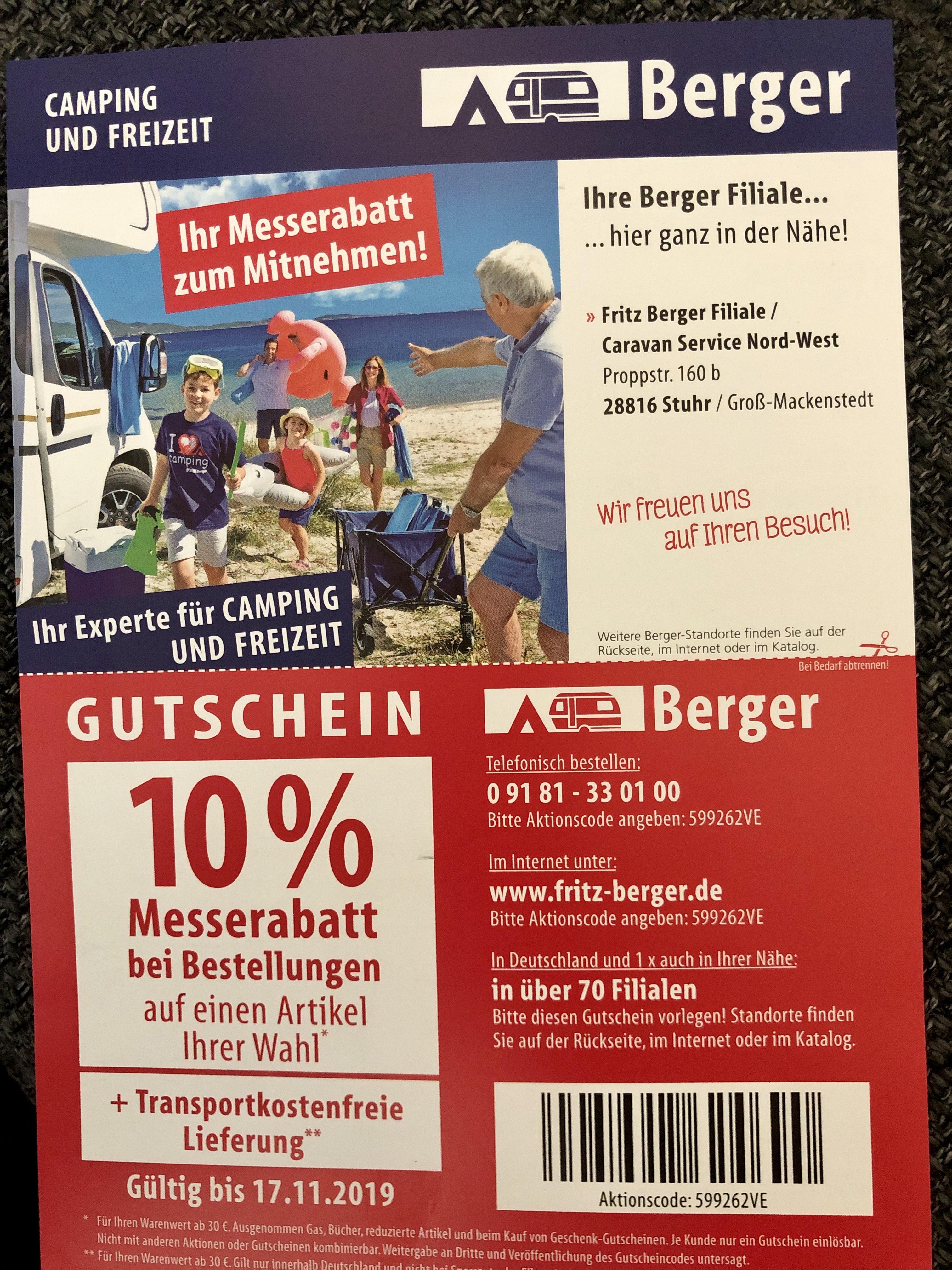 10% auf einen Artikel bei Fritz Berger (Camping-Zubehör) + versandkostenfreie Lieferung!