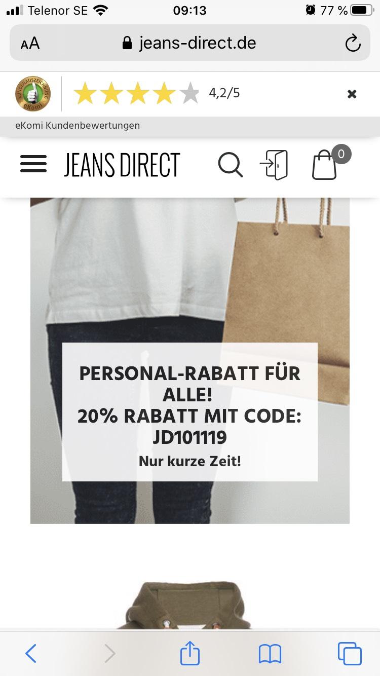 """Jeans-direct 20% """"Personalrabatt"""" für alle auf alles"""