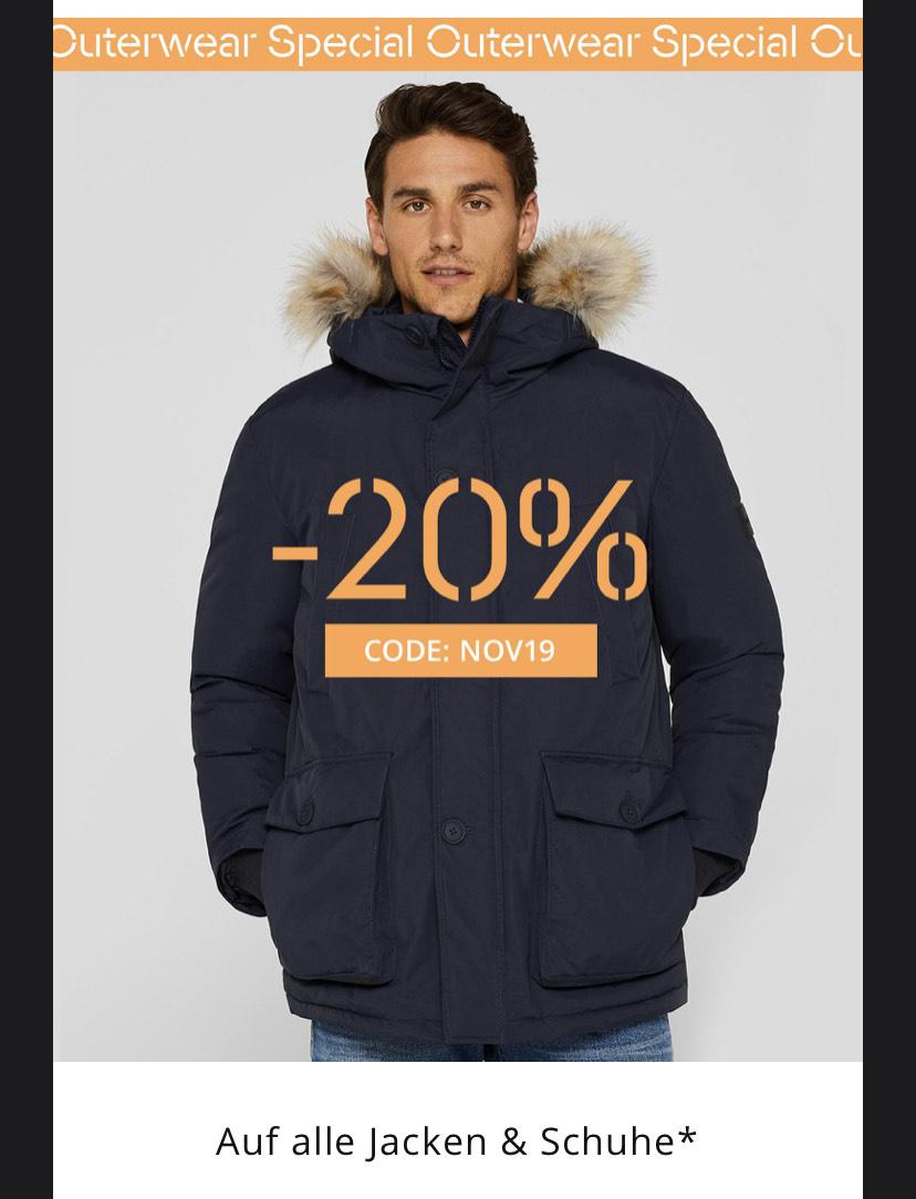 Esprit Nur Heute 20% auf Jacken und Schuhe