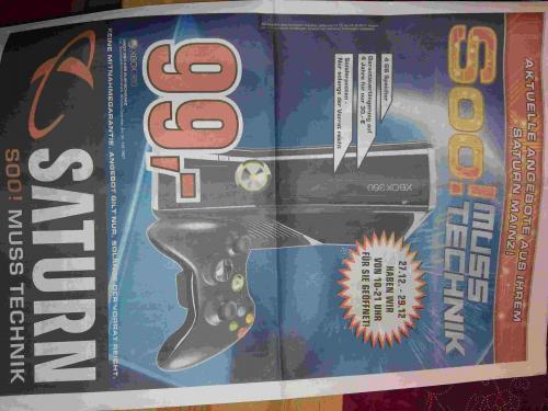 (LOKAL: MAINZ) Saturn: XBOX 360 4 GB nur 99 €!!!