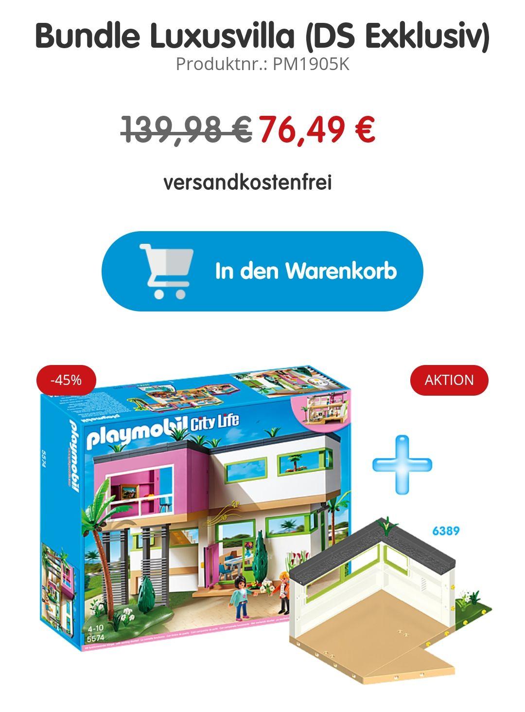 Playmobil moderne Luxusvilla 5574 + Erweiterung 6389 Gratis