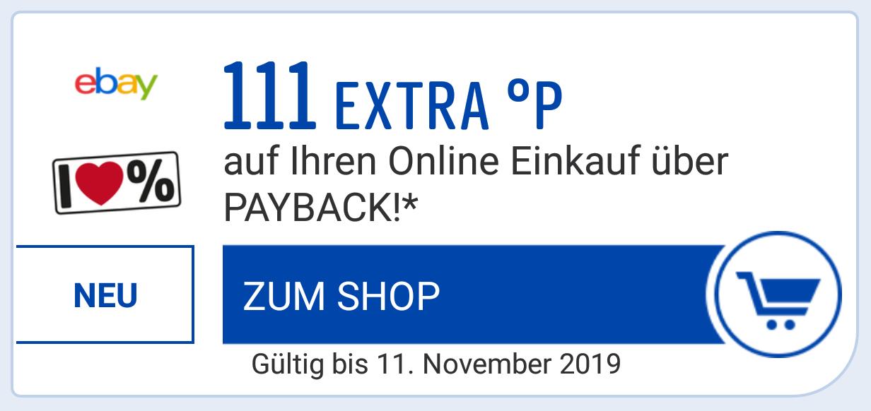 111 Payback Punkte extra für einen Kauf bei ebay am 11.11. ab 2 €