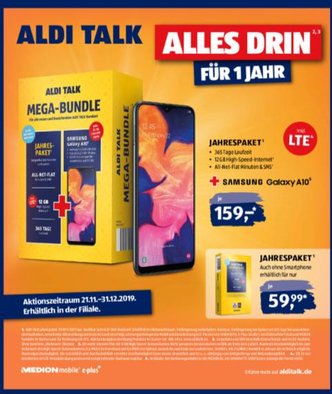 Aldi Talk 12GB/Monat Allnet und SMS Flat für 59,99 Jahr ( Telefonica Netz ) ab 21.11.2019