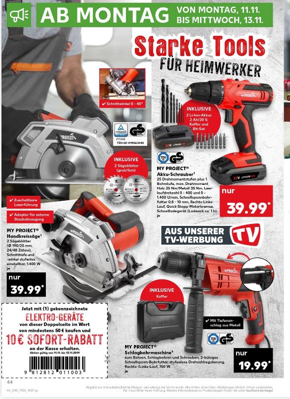 [Kaufland] 20 Euro Rabatt beim Kauf bestimmter Heimwerker Tools ab 50 Euro Gesamtsumme