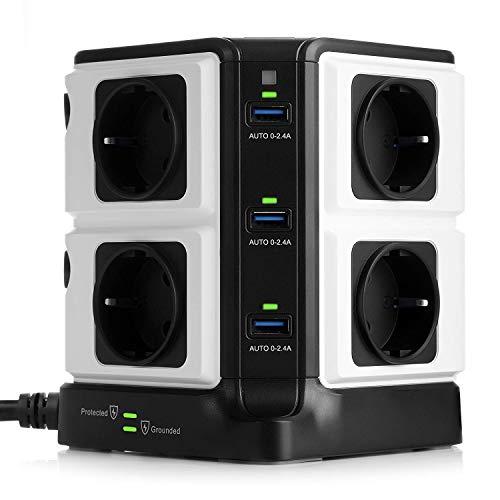 BESTEK 8 Fach Steckdosenleiste einzeln schaltbar mit 6 USB Anschlüsse und 1500J Überspannungsschutz