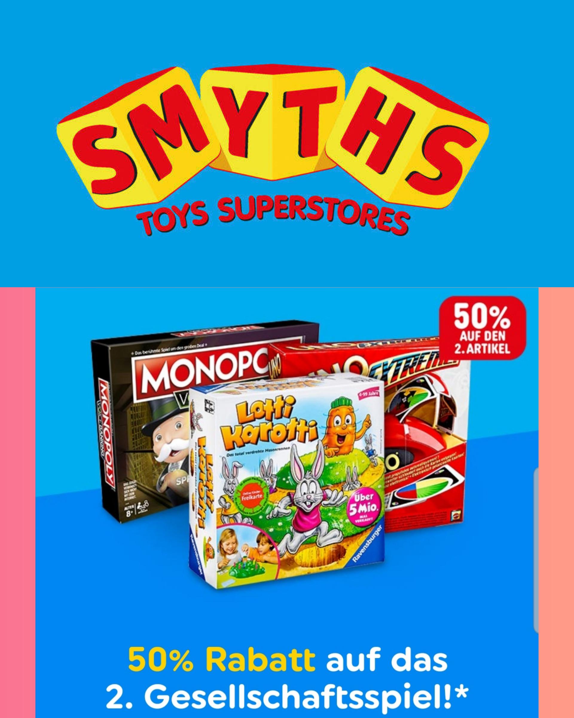 SMYTHS | 50% auf den 2ten Artikel beim Kauf von 2 Gesellschaftsspielen / Gesellschaftsspiel