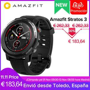 "Xiaomi Amazfit Stratos 3. Generation - 4GB / 512MB - 1,39"" Reflektiv-Display - 5ATM Wasserdicht - Music Player 