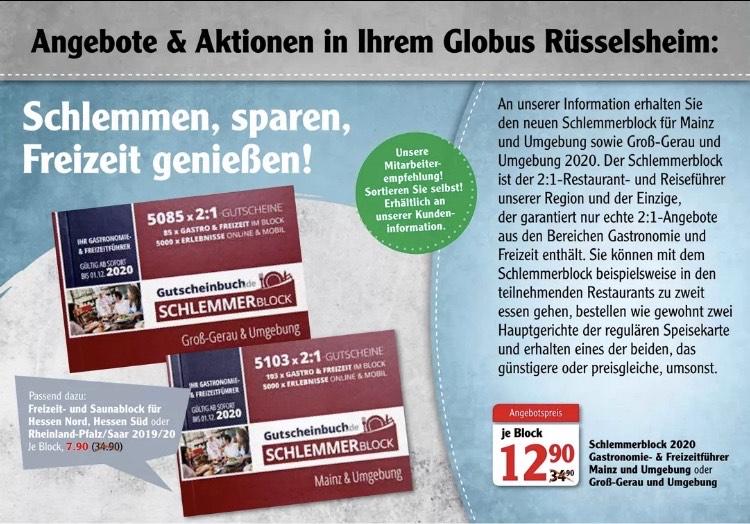 [Lokal Globus Rüsselsheim] Schlemmerblock 2020 für Mainz und Groß-Gerau