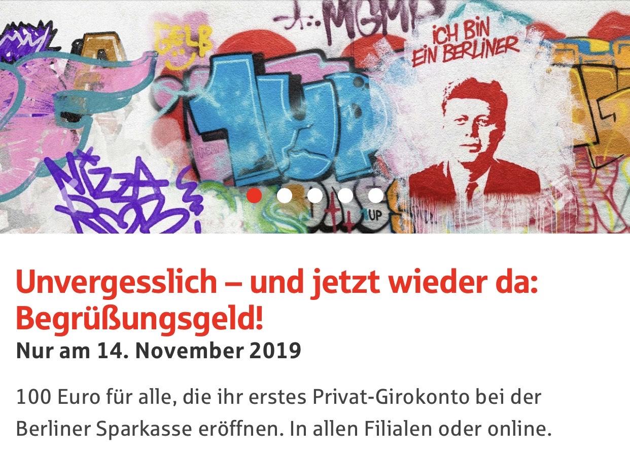 Begrüßungsgeld Berliner Sparkasse - ohne Voraussetzungen [ohne deutschen Personalausweis bei nur Lokal Berlin]