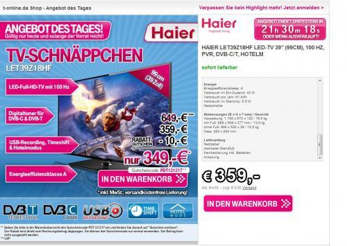 [T-Online]Haier LET39Z18HF 99 cm (39 Zoll) LED-Backlight-Fernseher, -> Idealo @ 379,00 € + Qipu
