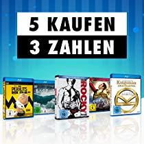 5 kaufen, 3 bezahlen auf Filme & Serien (Blu-ray, 4K UHD & DVD) vom 11 Nov. 2019 bis zum 17 Nov. 2019 (Amazon)