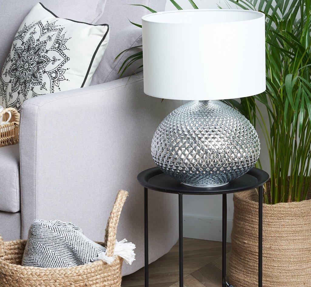 Tischleuchte Madon in Silber mit 55 cm Höhe