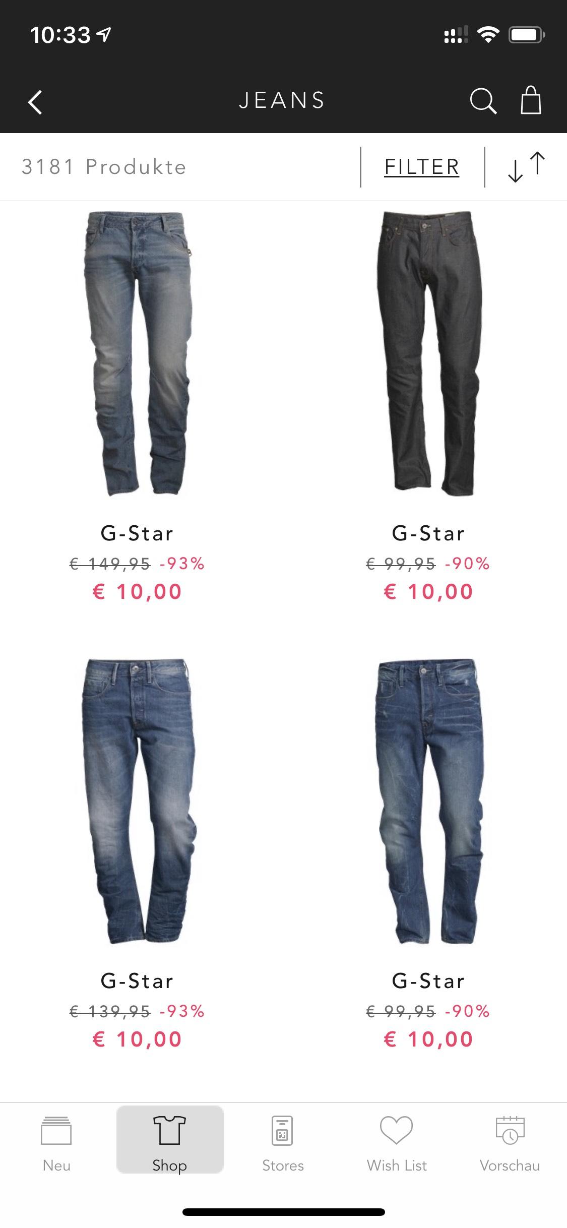 G-Star Jeans bei Bestsecret für 10€